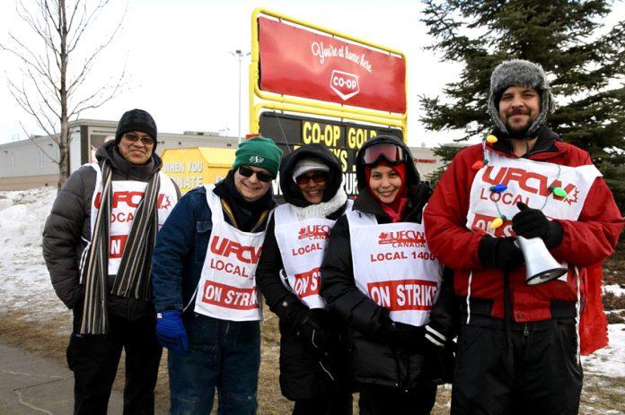 Striking Co-op workers picketing the Saskatoon, Saskatchewan Co-op