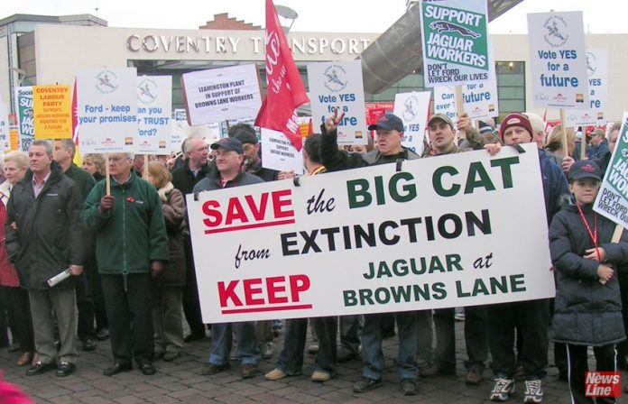 Jaguar car workers demanding the Browns Lane Coventry factory stays open – another 5,000 jobs are facing the axe