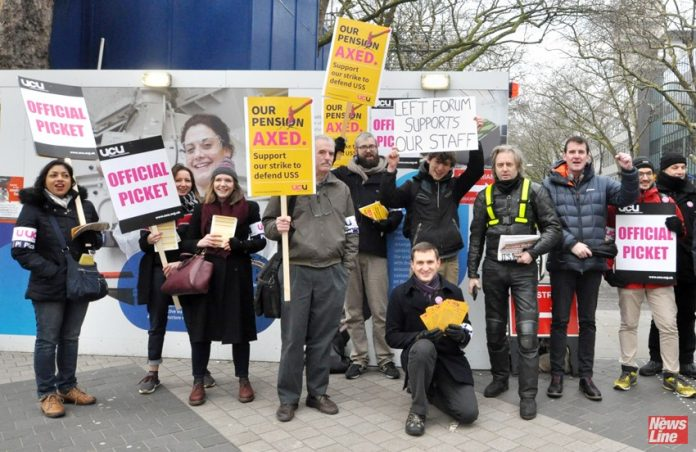 Lecturers and students on the picket line at Imperial College during last years' strikes over pay and pensions