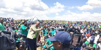 AMCU leader JOSEPH MATHUNJWA addressing striking miners at Sibanye-Stillwater