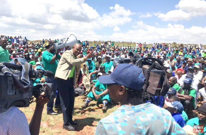 AMCU leader JOSEPH MATHUNJWA addressing striking miners at Sibanye-Stillwater