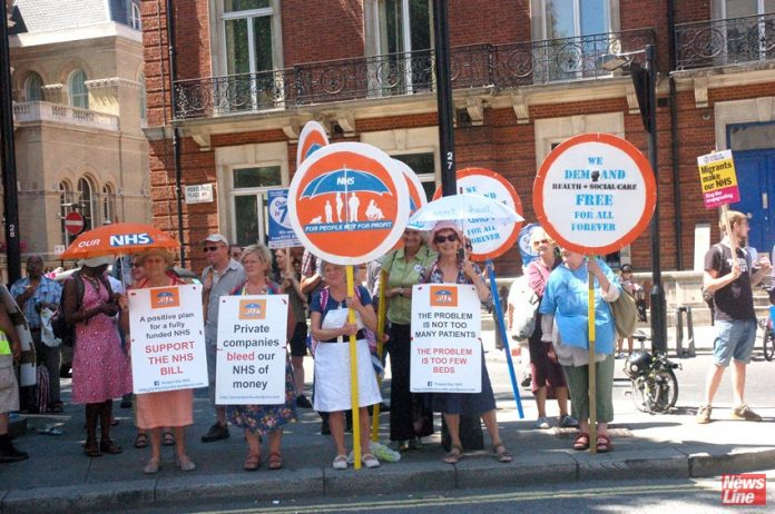 Protesters on the NHS 70th anniversary demonstration in June last year fighting against the privatisation of health services