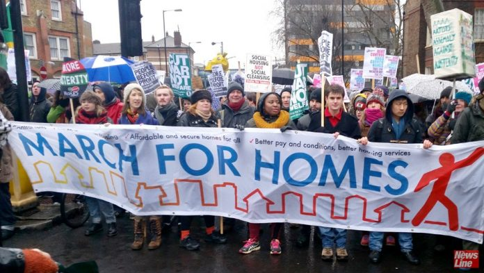 March to London's City Hall demanding more council housing to solve the homeless crisis