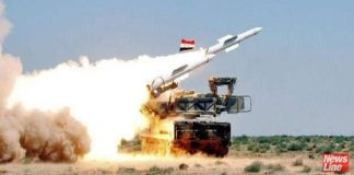 Syrian missile defences in action