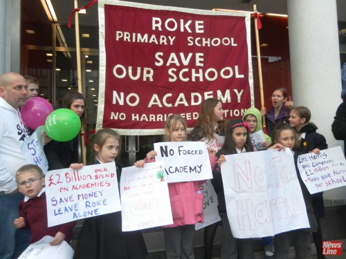 School pupils demonstrate against the Roke Primary School in Croydon being forced to become part of the Harris Academy chain