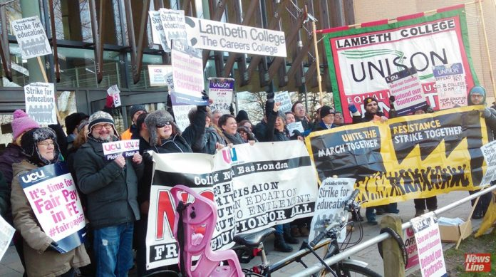 Lecturers during a strike at Lambeth College – they are among sixteen colleges on strike next week