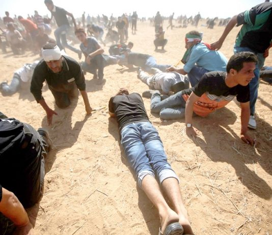 Palestinians on the Great March of Return on the Gaza border with Israel under attack from Israeli sniper fire
