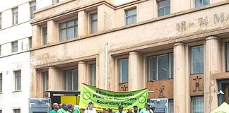 Striking Amcu Sibanye-Stillwater miners rally for a secondary strike after marching on the Mineral Council of South Africa and in Johannesburg