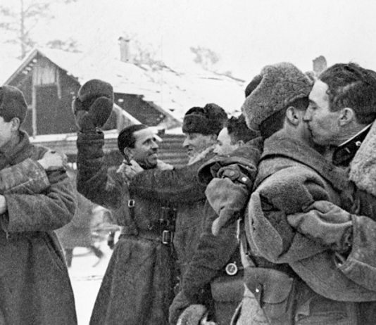 Soviet Red Army soldiers celebrate the end of the siege of Leningrad on January 27th 1944  Credit: Sputnik