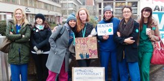Junior doctors on the picket line during their strike in 2016 against an unfair and unsafe contract