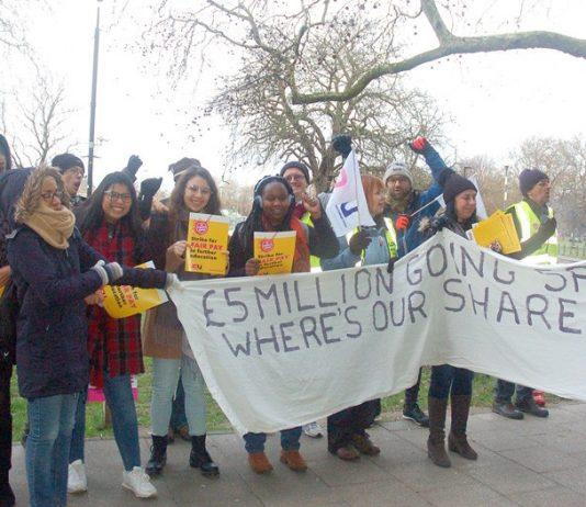 Students enthusiastically joined their striking lecturers on the picket line outside Lambeth College in south London yesterday