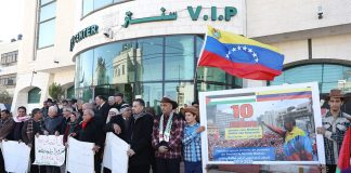 Venezuelan flag flies in Ramallah – solidarity demonstration outside the Venezuela Office of Representation of the Bolivarian Republic of Venezuela