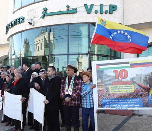 Venezuelan flag flies in Ramallah – solidarity demonstration outside the Venezuela Office of Representation of the Bolivarian Republic of Venezuela