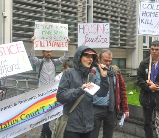 Protest for safe and warm council homes – the housing crisis has reach new heights with families squeezed into too few homes