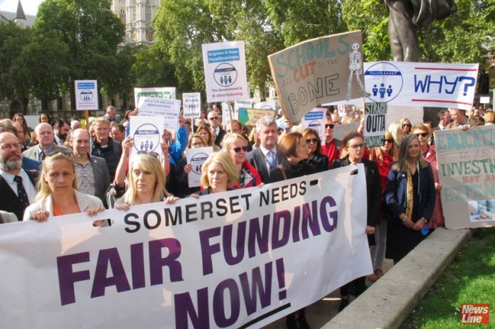 NEU Joint General Secretary MARY BOUSTED (centre) on a march to Parliament demanding the scrapping of the pay cap