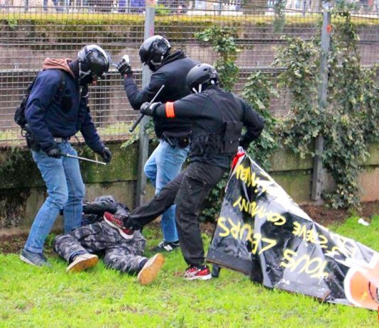 French police kick a yellow vest demonstrator – the movement has inspired German workers to take to the streets