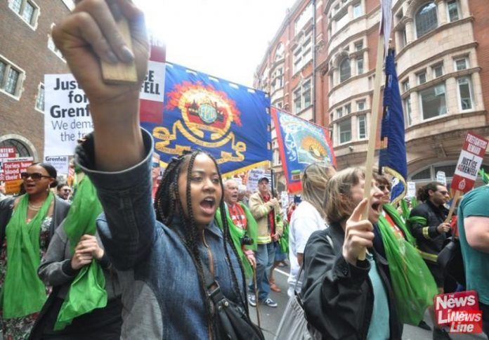 Local residents and FBU members joined forces in a march to demand justice for the London Grenfell disaster survivors – firefighters are concerned over toxicity