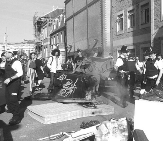 Police and bailiffs forcibly evict tenants in Brixton, scattering their possessions on the street – enforced debt collection is soaring