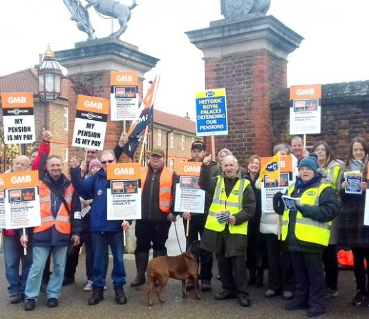 Angry GMB and PCS members working for Historic Royal Palaces on the picket line outside Hampton Court Palace yesterday lunchtime