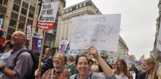 Student nurses marching in 2016 demanding the retention of NHS nursing bursaries