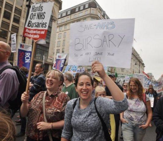 Student nurses marching in 2016 demanding the retention of NHS nursing bursaries