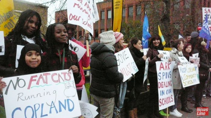 British teachers, parents and pupils protest against the academisation of Copland School by the Ark charity