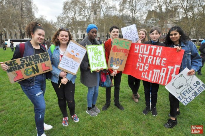 Students from Luton, England striking against climate change, at Parliament Square in London