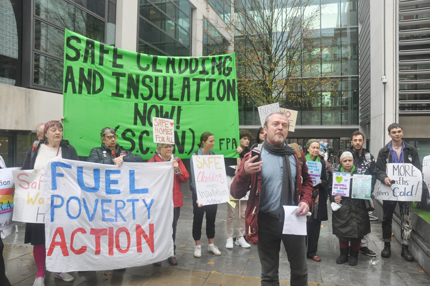 British campaigners from properties with Grenfell-style cladding demanding safe homes for all – residents are being charged millions to remove cladding from their homes