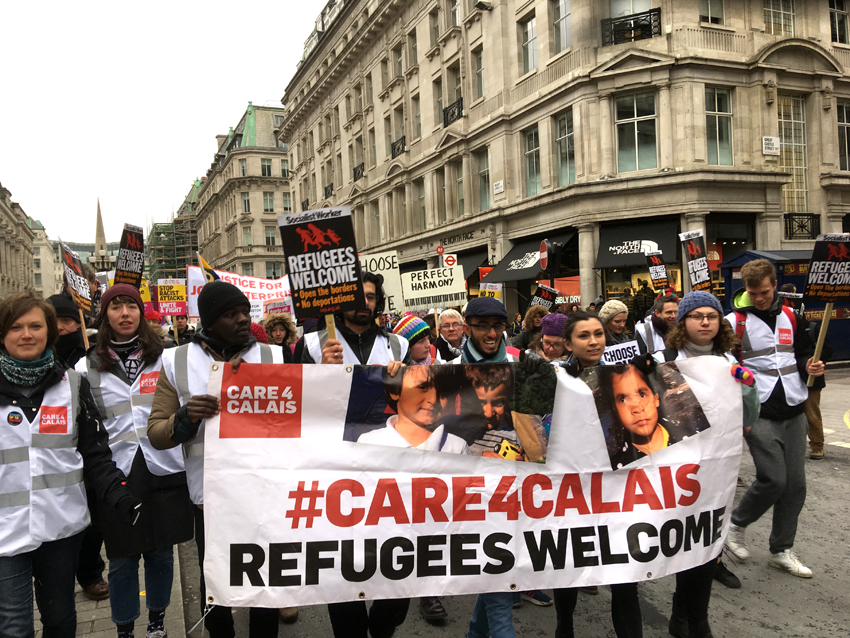 Workers and young people march in London to say that all refugees, including those stuck in the French Calais 'jungle', are welcome in the UK