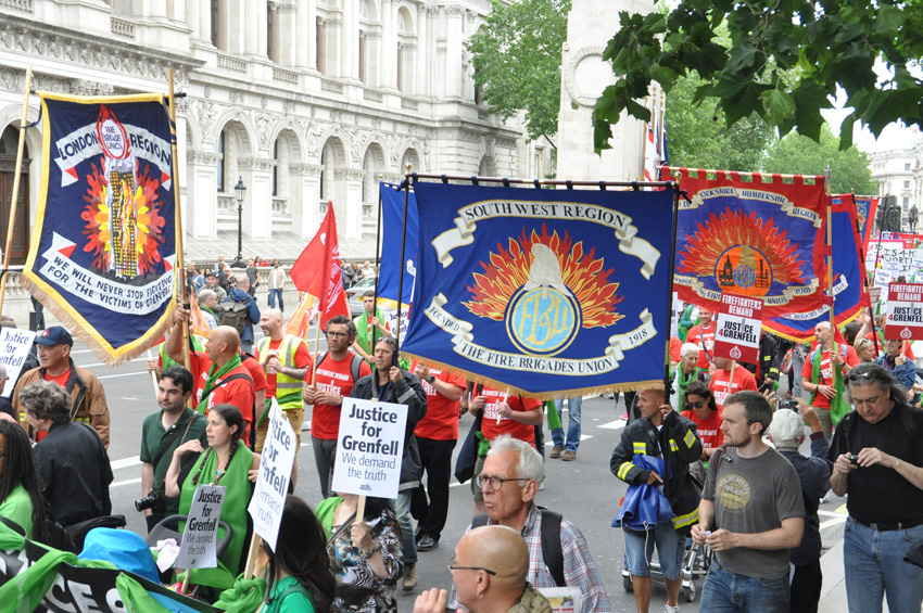 Firefighters and Grenfell fire disaster survivors demonstrate in London, England