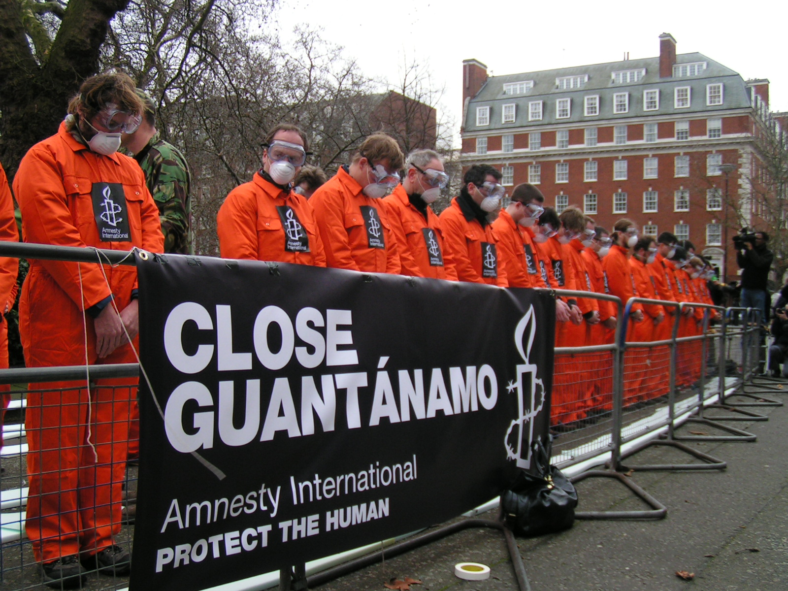 Mass demonstration of hunger strikers outside the US embassy in London, England demanding that the Guantanamo Bay prison is shut down