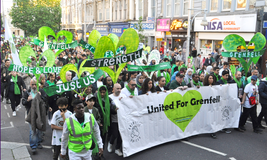 The front banner on Friday night's Silent Walk in London, England on the 2nd anniversary of the Grenfell Tower fire which claimed 72 lives