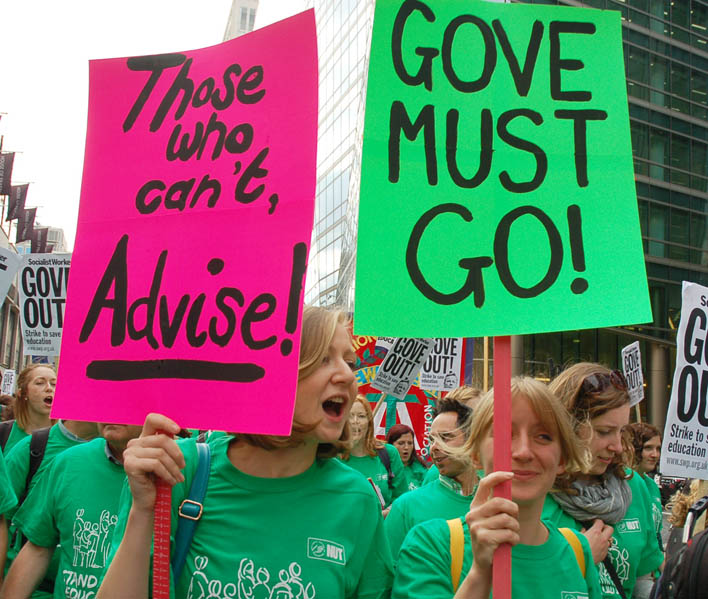 British teachers march against Gove when he was Education Minister