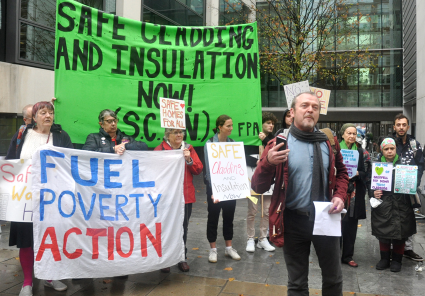 Safe cladding protest in London, England
