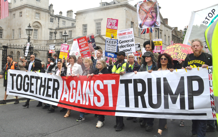 Front banner on the 10,000s-strong march in London against the state visit of US President Trump