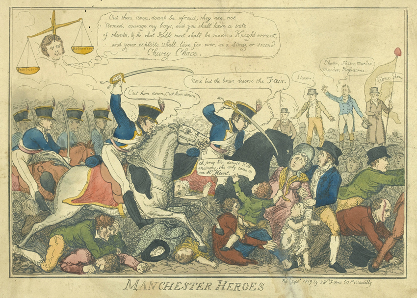 'Manchester Heroes' The Peterloo Massacre 16 August 1819, coloured etching by George Cruikshank. © Parliamentary Art Collection