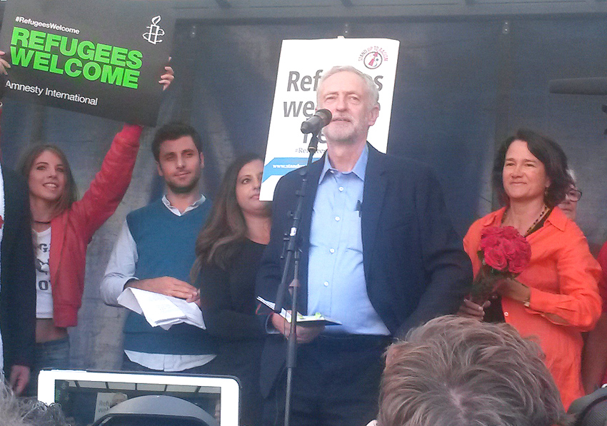 British Labour leader JEREMY CORBYN addressing a 'Refugees Welcome' march in Hyde park, London