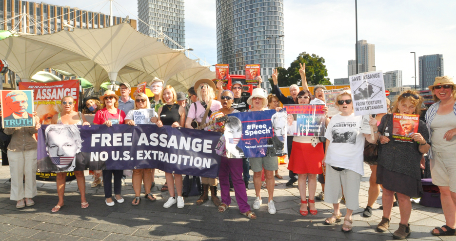 Supporters of Julian Assange demanding that he is released from Belmarsh Prison and that he is not extradited to the USA