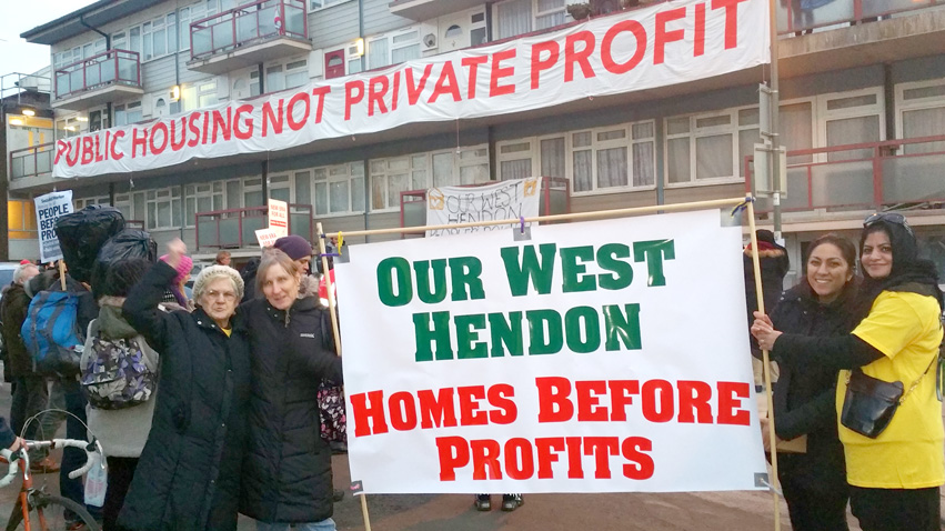 West Hendon, England residents defend council housing – homeless people are being routinely denied access to social housing