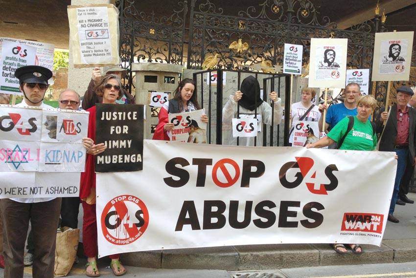 Britain: demonstration against G4S and their treatment of asylum seekers – they are being driven out of the immigration sector