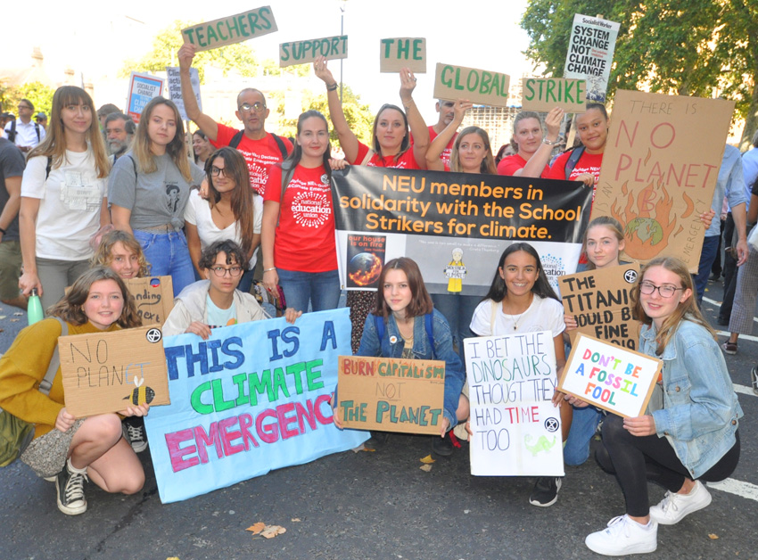 Teachers from the Beal High School in Redbridge joined the strike by their pupils on the massive march in London's Millbank