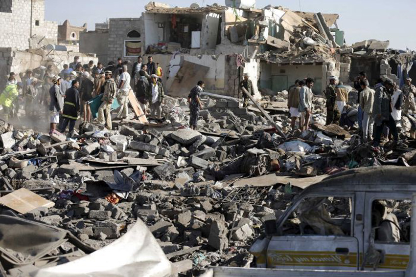 The aftermath of a bombing raid by the Saudi regime on Yemen. Amnesty International say Saudi weapons that killed civilians were supplied by the US, UK and France