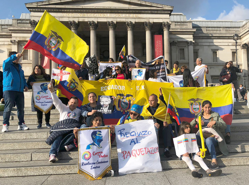 Demonstration in Trafalgar Square, London, England on Wednesday in support of the Ecuadorian uprising against President Moreno
