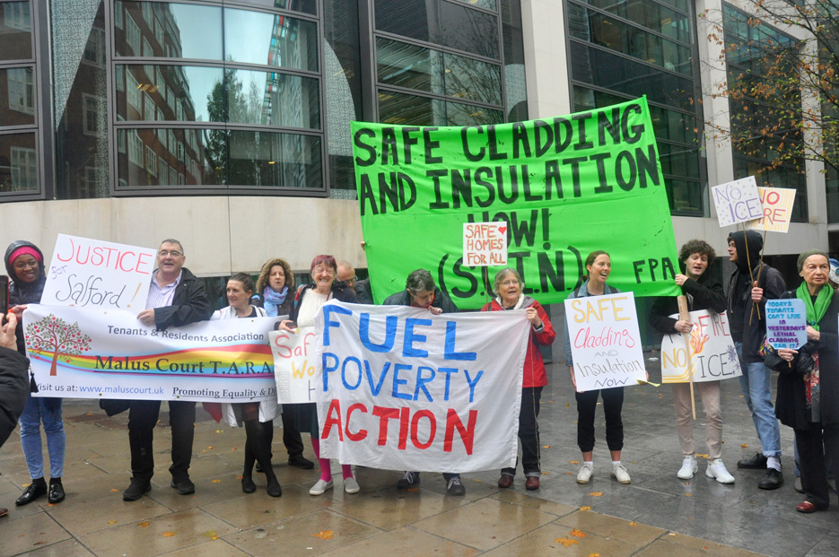 Tenants from Salford, England, whose housing blocks are covered with cladding joined a protest at the department for local government demanding the cladding be made safe