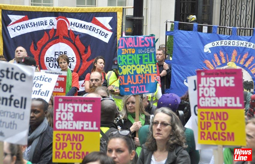 Jail for corporate slaughter, says a protester in the crowd at the London march on the second anniversary of the Grenfell inferno