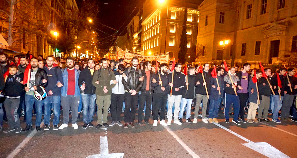 Students on the 20,000-strong Athens march in support of refugees