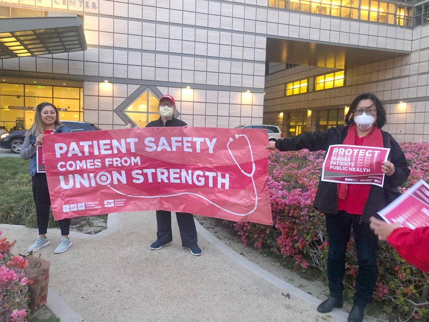 University of California, Los Angeles Medical Center, USA nurses demonstrating earlier this week