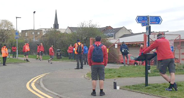 Striking postal workers, CWU members 'safe distancing' on the picket line at the Alloa Royal Mail sorting office, Scotland