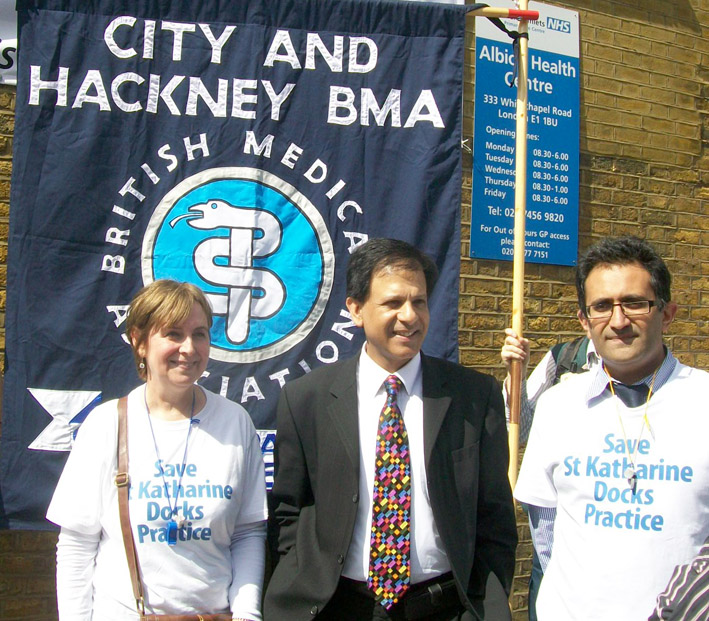 BMA Council Chair DR CHAAND NAGPAUL (centre) on a pre-coronavirus crisis march against GP surgery closures in Britain
