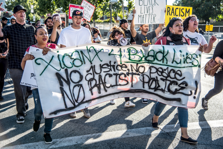 Demonstration in San Jose, USA, after an earlier police killing – the family of George Floyd demand police involved be charged with murder